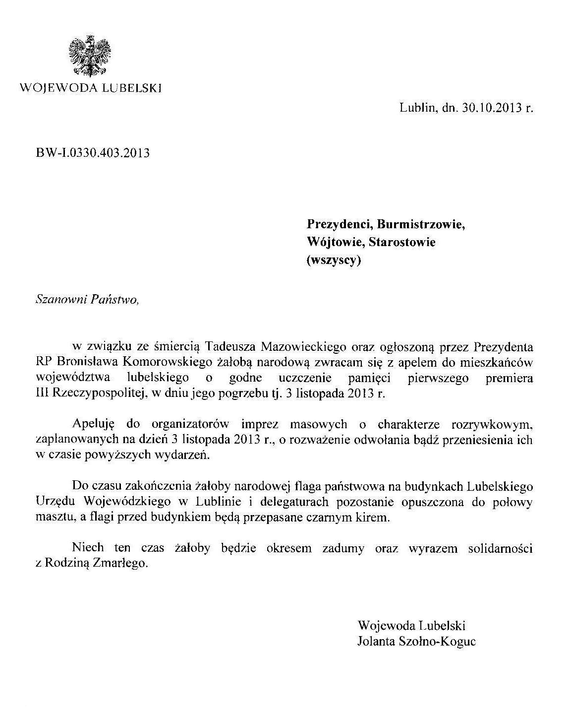 Apel Wojewody Lubelskiego