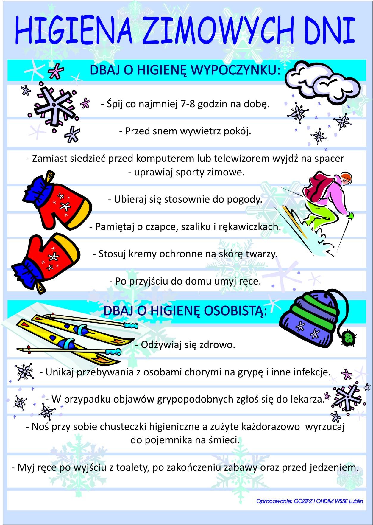 Znalezione obrazy dla zapytania higiena zimowych dni